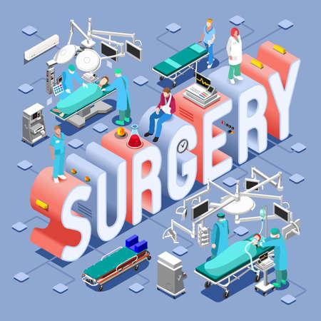 Concepto del cuidado médico de la cirugía. Clínica Símbolos departamentos del hospital y la nueva gente brillante paleta plana 3D conjunto de vectores. Pacientes Doctores Enfermeras Personal friega y trabajadores de apoyo