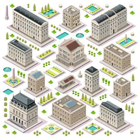 Flat 3d set of the isometric town buildings city map elements theatre palace hall university hotel for game development collection. Assemble Your Own 3D World