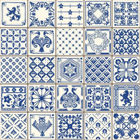 Indigo Blue Boden Fliesen Ornament Collection. Herrliche Nahtlose Patchwork-Muster aus bunten traditionellen Painted Zinn glasierte Keramik Tilework Weinlese-Illustration. Für Web-Seite Vorlage Hintergrund