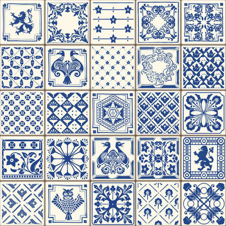 indigo: Indigo Blue Tiles Floor Ornament Collection. Gorgeous Seamless Patchwork Pattern from Colorful Traditional Painted Tin Glazed Ceramic Tilework Vintage Illustration. For web page template background
