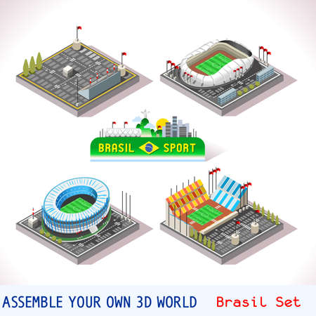 natal: Vector isometric Stadium Sport Icon Set. Brasil Natal Rio Grande do Norte Arenas da Dunas Rio de Janeiro Maracana. Flat 3D City Map Elements Isometry Isometric Infographic Game Tiles Collection Illustration