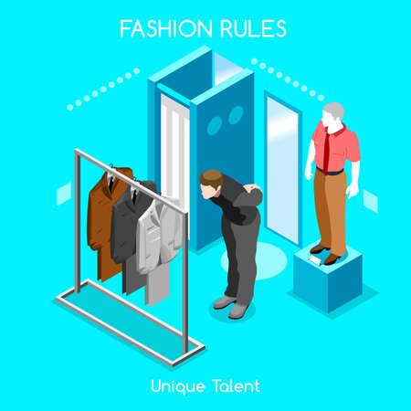 clothing store: Flat 3d isometric fashion shopping abstract interior dressing room customers clients buyers workers staff bright colorful concept vector infographics. Creative business people collection.