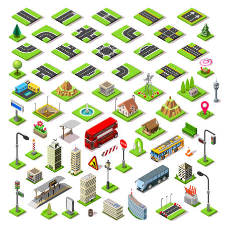 Flat 3d isometric buildings blocks road street game tiles icons infographic concept set. City map elements crossroad traffic light lantern skyscraper tram bus shop. Assemble your own infographics