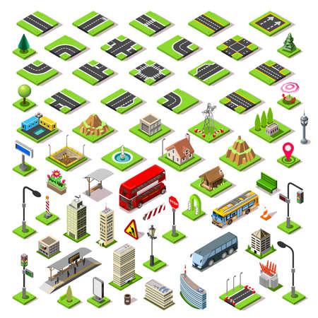 Planas azulejos calle edificios isométricos bloques carretera juego 3d conjunto de iconos concepto de infografía. elementos del mapa de la ciudad encrucijada de tráfico linterna luz tienda de bus rascacielos tranvía. Montar sus propias infografías Ilustración de vector
