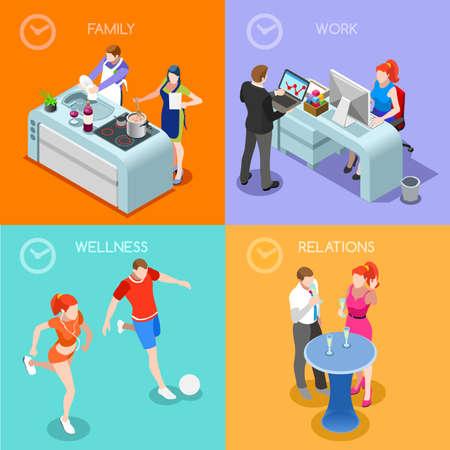 cartoon kitchen: Tiempo de Vida plana 3D isométrico Concepto. Día Tiempo de gestión de la planificación horarios de trabajo y las relaciones familiares Sport Wellness escena interior. La gente Colección Creativa