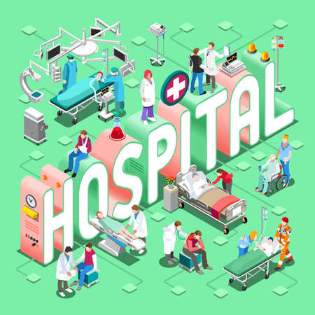 Krankenhaus-Gesundheitskonzept. NEUE helle Palette 3D flacher Vektor-Satz der Klinik-Abteilungs-Symbole und der Leute. Patienten Ärzte Krankenschwestern Scrubs Staff und Support Workers
