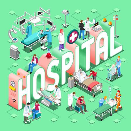 Szpital pojęcie opieki zdrowotnej. Klinika Wydziały Symbole i ludźmi Nowe jasne palety 3D Flat Vector Set. Pacjenci Lekarze Pielęgniarki Scrubs Personel i wspierać pracowników