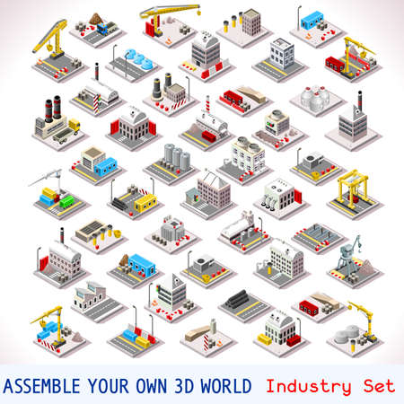 Vector isometric buildings. Industrial Factory Set. Flat 3D Urban City Map Isolated Elements Isometry Isometric Infographic Game Tiles MEGA Collection