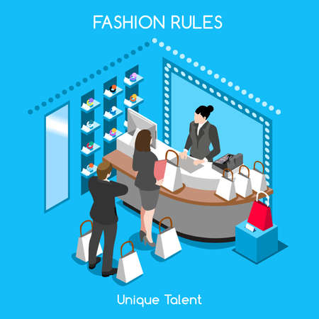 dressing room: Flat 3d isometric fashion shopping abstract interior room customers clients buyers workers staff bright colorful concept vector infographics. Creative business people collection. Illustration