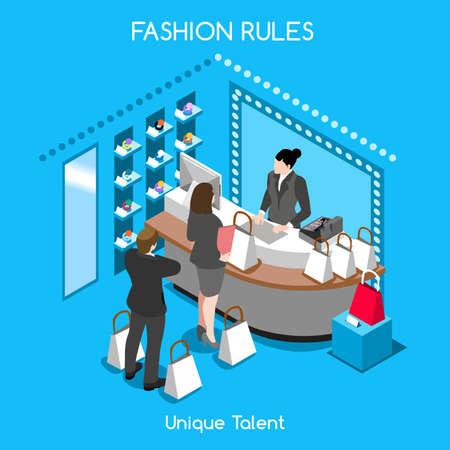 Flat 3d isometrische mode shopping abstract interieur kamer klanten klanten kopers werknemers personeel heldere kleurrijke begrip vector infographics. Creatieve mensen uit het bedrijfsleven collectie.