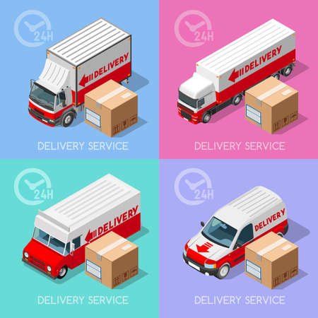 Shipment and Delivery Transport Service Elements Vehicles Collection. NEW colorful bright 3D Flat Vector Icon Set. Van and Truck worldwide fast and ensured 24h shipping. Express home delivery Illustration