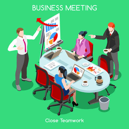 Flat 3d isometric Startup concept web infographics vector eps bright colorful illustration. Creative people collection. Research report team business planning Illustration