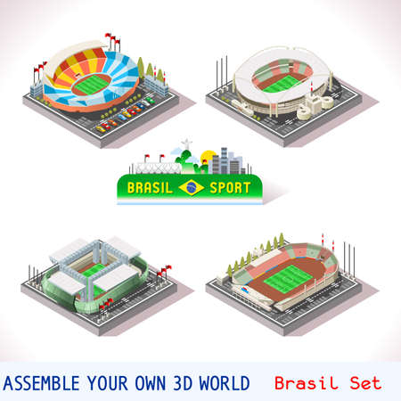 web template: Vector isometric Stadium Sport Icon Set. Brasil Rio de Janeiro Joao Havelange Cuiba Mato Grosso Arena Pantanal Sao Paolo Estadio Pacaembu. Flat 3D City Map Elements Isometry Isometric Infographic Game Tiles Collection Illustration