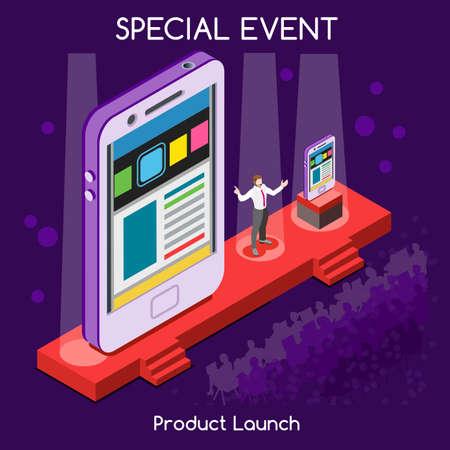Evento Speciale Meeting Internazionale New Product Launch piatto 3d isometrico CEO di altoparlante e pubblico Presentando nuovo dispositivo Worldwide Conference Online. Collezione persone creative Vettoriali