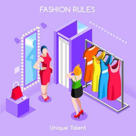 dressing room: Flat 3d isometric fashion shopping abstract interior dressing room customers clients buyers workers staff bright colorful concept vector infographics. Creative business people collection.