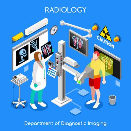 hospital dibujo animado: médico del hospital de interiores paciente sala de rayos x. Rayos X de diagnóstico médico de la clínica huesos femenina chequeo corporal. personas colección creativa. 3d isometría plana web de asistencia sanitaria isométrica concepto de colores brillantes