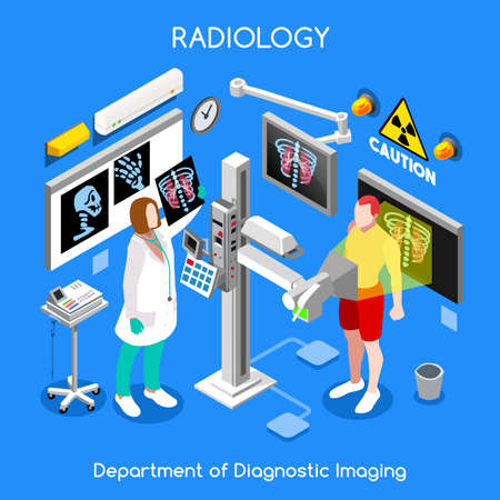 Hospital doctor patient interior x-ray room. Xray female medical clinic diagnostics bones body checkup. Creative people collection. Flat 3d isometry isometric healthcare web bright colorful concept Illustration
