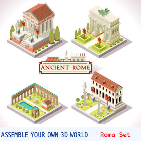 summer game: Ancient Rome Tiles for Online Strategic Game Insight and Development. Isometric Flat 3D Roman Imperial Buildings. Explore Game Phenomena of Rome Cesar Age Atmosphere Illustration