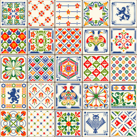 flower clipart: Indigo Blue Tiles Floor Ornament Collection. Gorgeous Seamless Patchwork Pattern from Colorful Traditional Painted Tin Glazed Ceramic Tilework Vintage Illustration. For web page template background