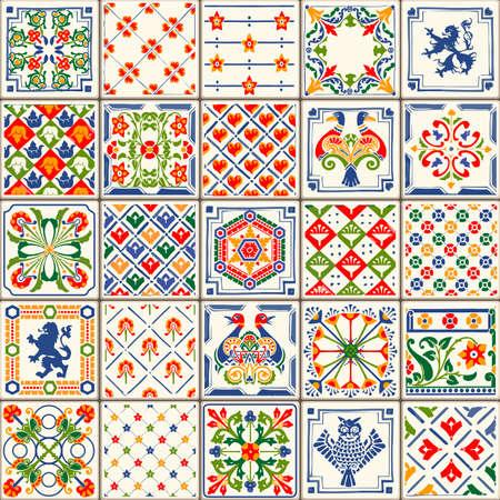 ceramiki: Indigo niebieskie płytki podłogowe Ozdoba Collection. Gorgeous Seamless patchwork z kolorowych tradycyjny Malowane Tin szkliwione ceramiczne tilework Archiwalne ilustracji. Na stronie internetowej szablon tle