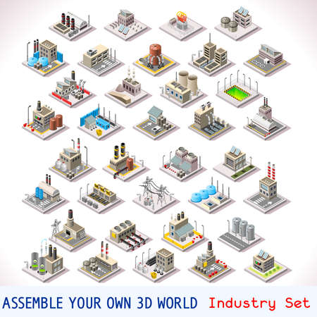 Vector edificios isométricos. Conjunto de fábricas industriales. Plana 3D Urban City Mapa elementos aislados isométrico de Infografía Colección Azulejos del juego MEGA