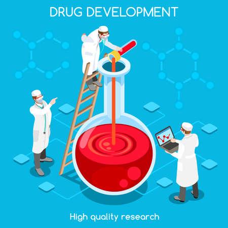 Science molecule ontwikkeling van nieuwe drug discovery flat 3d isometrische chemisch concept web infographics vector illustratie. Micro lab werknemers smeltende stoffen. Creatieve mensen collectie