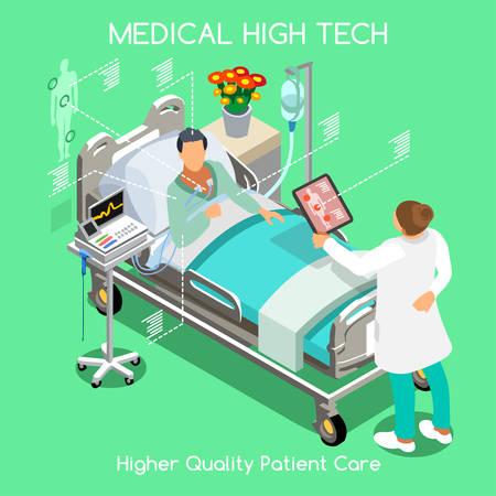 Enfermedad Paciente alta tecnología sanitaria rápido diagnóstico de hospitalización en el Hospital Clínica Médica. Cama del paciente de edad avanzada con el doctor personal médico. NUEVA brillante paleta Vector personas Colección plana 3D