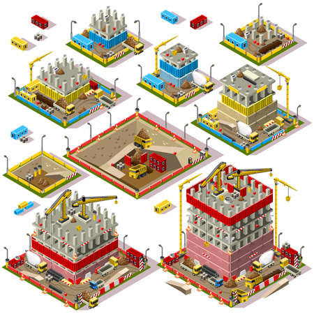 construction plans: Flat 3d Isometric Buildings Construction Site City Map Icons Game Tile Elements Set. Colorful Warehouse Collection Isolated on White Vectors. Assemble Your Own 3D World
