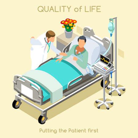 의료 방문 젊은 여성 환자 침대와 3D 아이소 메트릭 등거리 변환 평면 디자인에서 의사 인테리어 병원 클리닉 룸. 창의적인 사람들 모음