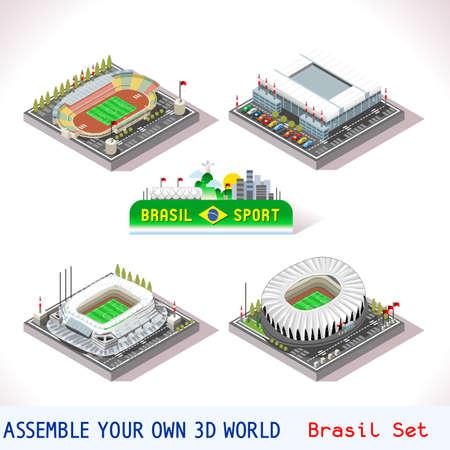 벡터 아이소 메트릭 스타디움 스포츠 아이콘을 설정합니다. 브라질 쿠리티바 Parana 경기장 Bixada Sao Lourenco da Mata Recife 페르 남부 쿠 포르토 알레그레 리