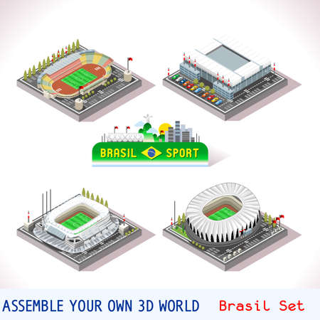 Vector isometric Stadium Sport Icon Set. Brasil Curitiba Parana Arena da Bixada Sao Lourenco da Mata Recife Pernambuco Porto Alegre Rio Grande do Sul Beira Rio. Flat 3D City Map Elements Isometry Isometric Infographic Game Tiles Collection Иллюстрация