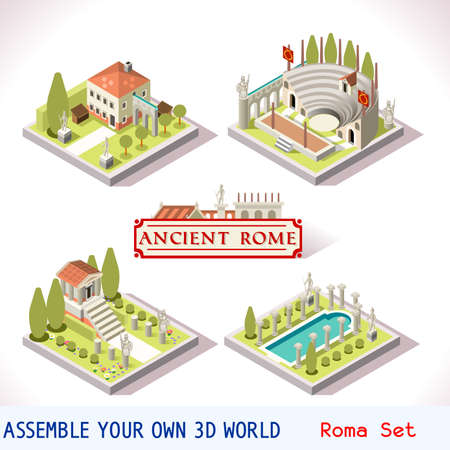 gladiator: Ancient Rome Tiles for Online Strategic Game Insight and Development. Isometric Flat 3D Roman Imperial Buildings. Explore Game Phenomena of Rome Cesar Age Atmosphere Illustration