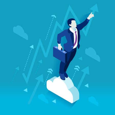scientist man: Data scientist man business concept 3D isometric flat illustration blue background Illustration