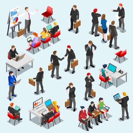 Businessmen at training or conference standing handshake sitting pose flat design for consulting finance. Illustration