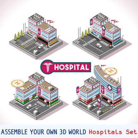 car care center: City Hospital Buildings and Landmarks Game Tiles Collection Clinic and Other Isometric 3d Urban Map Elements Set