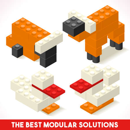 rows: The Best Modular Solutions Isometric Basic Farm Animals Collection Cow and Duck  Plastic Toy Blocks and Tiles Set. Illustration