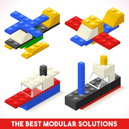 The Best Modular Solutions Isometric Basic Vehicle Airplane and Ship Collection Plastic Toy Blocks and Tiles Set HD Quality Colorful and Bright Illustration Web Advertising Template