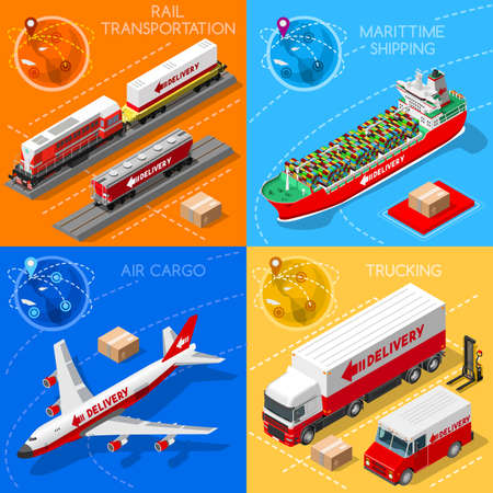 shipping by air: Logistic 3D icons set flat isometric transport truck maritime shipping ship air cargo plane and rail transportation realistic express delivery vehicles illustrations