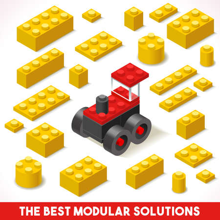 The Best Modular Solutions Isometric Basic Farm Tractor Collection Plastic Toy Blocks and Tiles Set. Illustration
