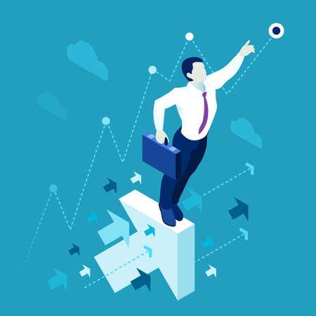 scientist man: Data scientist man business concept 3D isometric flat illustration blue background or backdrop