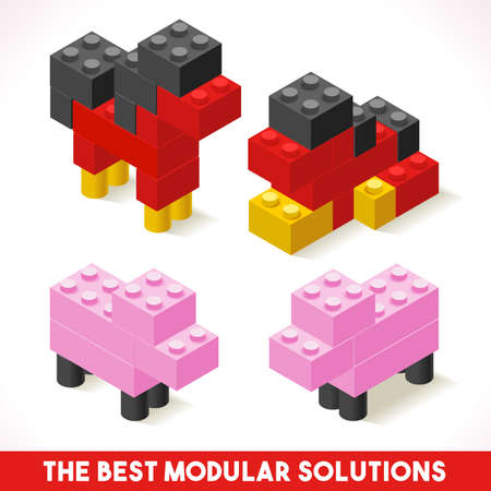 modular: The Best Modular Solutions Isometric Basic Farm Animals Collection Horse and Pig Plastic Toy Blocks and Tiles Set.