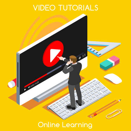 studies: Video tutorials isometric concept. Study and learning banner remote education and knowledge growth.
