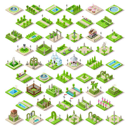 park: City park furniture and roads set flat 3D city map elements isometry isometric infographic game tiles collection