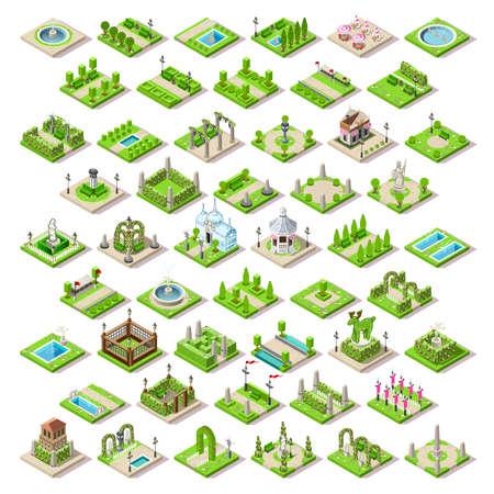 banc de parc: Ville mobilier de parc et des routes définies carte ville 3D éléments plats isométrie isométrique infographique collection tuiles de jeu