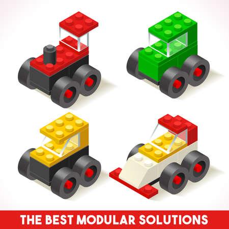 De beste Modular Solutions isometrische Basic Cars Collection plastic speelgoed Blokken en Tegels Set. Stock Illustratie
