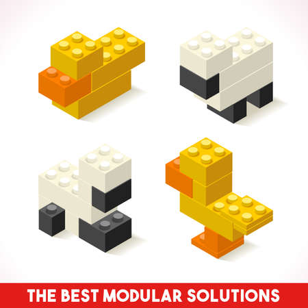 The Best Modular Solutions Isometric Basic Farm Animals Collection Sheep and Duck Plastic Toy Blocks and Tiles Set.