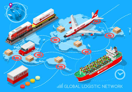 air cargo: Global Logistic Network 3D infographic and vehicle set flat isometric transport truck maritime shipping ship air cargo plane and rail transportation realistic express delivery concept Illustration