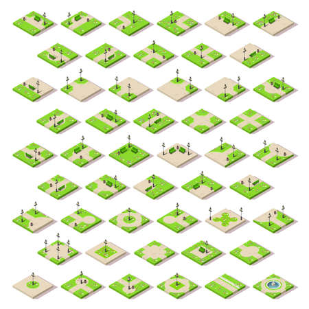 City park furniture and roads set flat 3D city map elements isometry isometric infographic game tiles collection