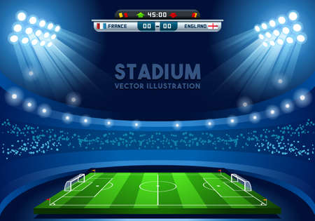 game design: Soccer Stadium Score Board Empty Field Background Nocturnal View Illustration