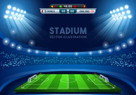 Voetbalstadion Score Board lege veld Achtergrond Nocturnal View